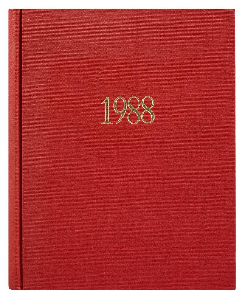 1988, libro cartonato, 144 fotocopie xerox rilegate in tela rossa, tiratura 3 esemplari numerati e firmati, 30X21,5cm