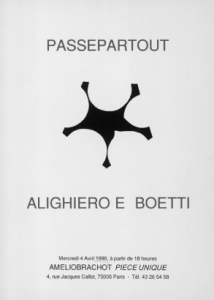 1990 Passepartout. Alighiero and Boetti, Galerie Amelio Brancho, piece unique, Paris