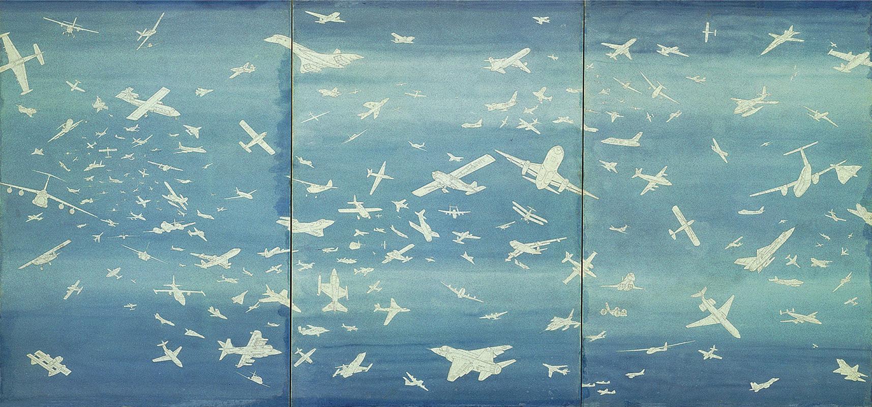 Aerei-1977-matita-e-acquarello-su-carta-cm-26-X-41