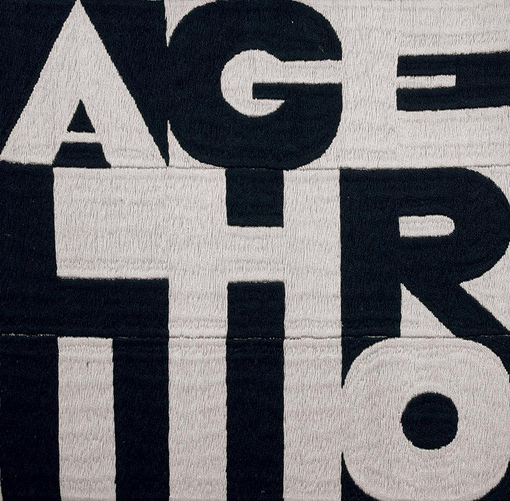 Alighiero, 1975, ricamo su tessuto, 22x22cm
