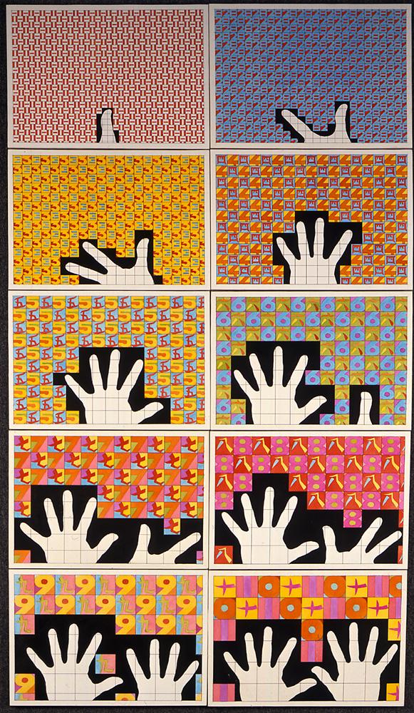 Da uno a dieci (in giapponese) 1980 tecnica mista e acquarello su carta intelata 10 elementi, cm 27,9 X 40,9 cad.