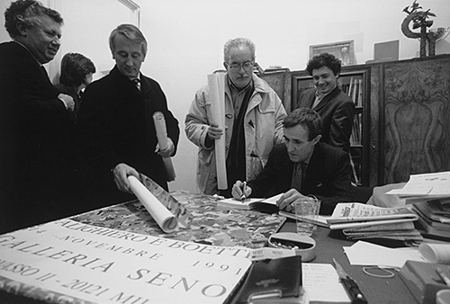 Inauguration at the Galleria Seno, Milan 1991, photo by Giorgio Colombo