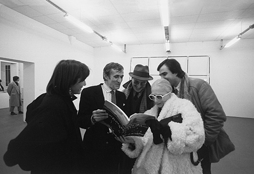 "Inauguration of ""Alighiero e Boetti, insecure noncurante"", Nouveau musée of Villeurbanne, France with (from left) A.Bonomo, Boetti, Giulio Paolini, C. Stein, G. Benedetti, photo by Giorgio Colombo"