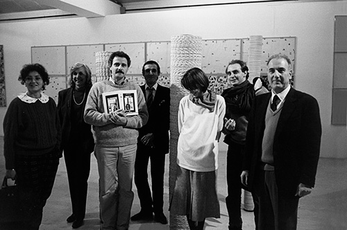 Inauguration of the retrospective at the Municipal Art Gallery of Ravenna with (from left) E. Gentile, M. Bonomo, G. Gentile, AB, A. Bonomo, F.Valentini, G. Nati, photo by Giorgio Colombo