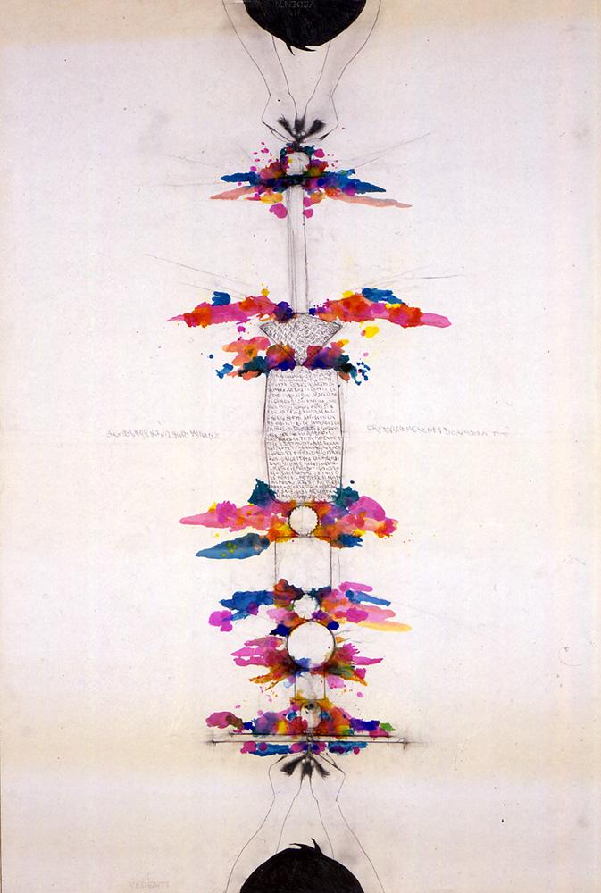Tra sé e sé 1987 tecnica mista su stampa serigrafica intelata cm 150 X 100