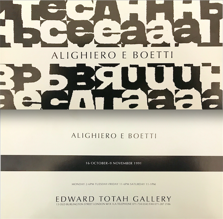 new styles e3034 55e2a 1991 ALIGHIERO E BOETTI, EDWARD TOTAH GALLERY, London, 16 ...