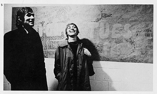 Alighiero Boetti e Annemarie Sauzeau al Seminario all'Università di Hartford, USA 1975