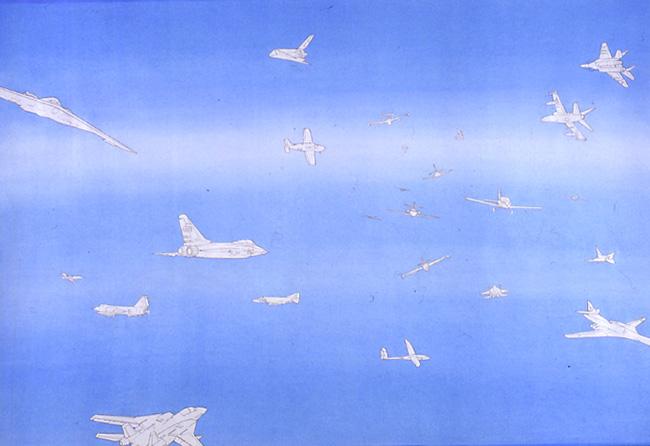 Cieli ad alta quota 1989 matita e acquerello su carta cm 50,6 X 72,8