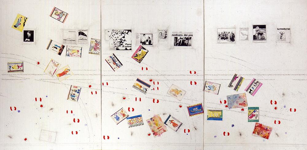 Senza titolo (Cartoline etrusche) 1986 tecnica mista su carta intelata 3 elementi, cm 150 X 100 cad.