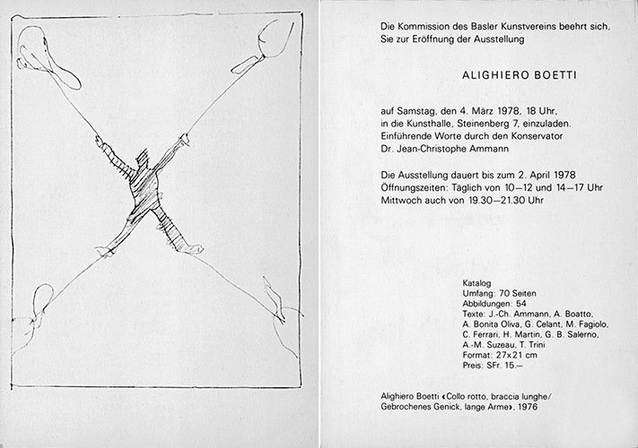 Invitation to the Kunsthalle Basel exhibition, 1978