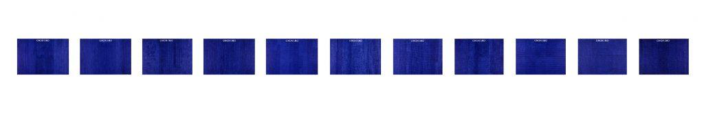 1973, penna biro blu su carta intelata 11 elementi, cm 70 X 100 cad.