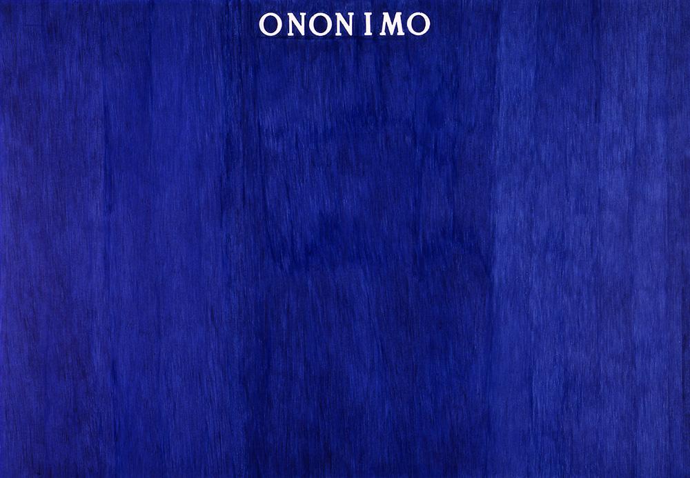 ONONIMO - 1973, penna biro blu su carta intelata 11 elementi, cm 70 X 100 cad.