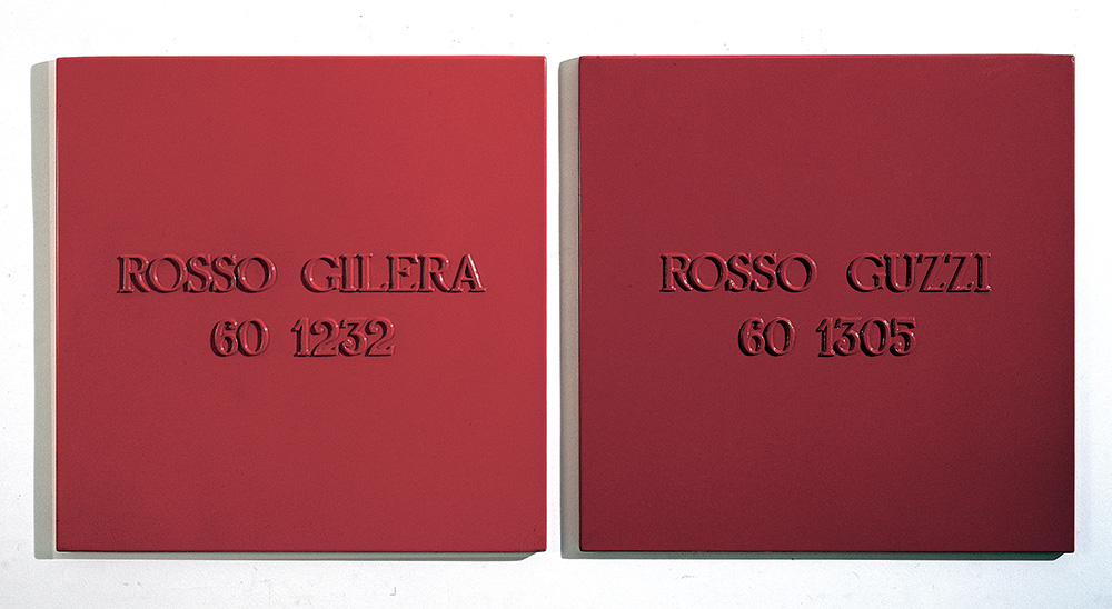 Alighiero Boetti (1940-1994) Rosso Gilera 60 1232 Rosso Guzzi 60 1305 industrial paint on metal, in two parts each: 39 3/8 x 39 3/8in. (100 x 100cm.) Executed in 1967